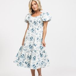 Puff Sleeve Smocked Midi Dress- Blue Floral | Rachel Parcell
