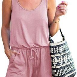 REORIA Womens Summer Scoop Neck Sleeveless Tank Top Short Jumpsuit Rompers, amazon fashion | Amazon (US)