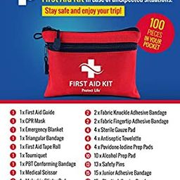 First Aid Kit - 100 Piece - Small First Aid Kit for Camping, Hiking, Backpacking, Travel, Vehicle... | Amazon (US)