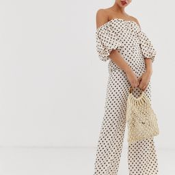 Glamorous jumpsuit with puff sleeves in floral spot print-Cream   ASOS (Global)