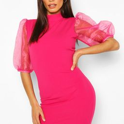 Womens Organza Puff Sleeve Mini Dress - Pink - 10   Boohoo.com (US & CA)