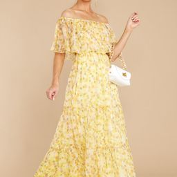 Washed Memories Sunshine Yellow Floral Print Maxi Dress   Red Dress