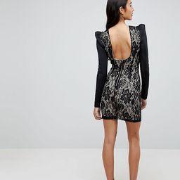 ASOS TALL Lace Bodycon Puff Sleeve Mini Dress-Black   ASOS (Global)