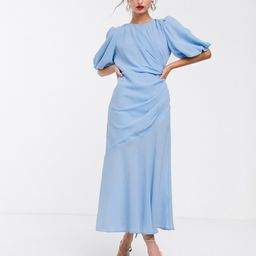 ASOS DESIGN ruched maxi dress with puff sleeve in self check-Blue   ASOS (Global)