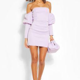 Womens Puff Sleeve Off The Shoulder Mini Dress - Purple - 2   Boohoo.com (US & CA)