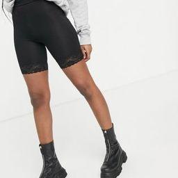 Miss Selfridge lace hem legging short in black   ASOS (Global)