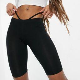 ASOS DESIGN low rise legging short with strap detail in black   ASOS (Global)