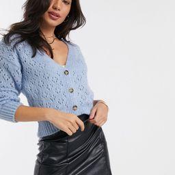 Stradivarius crochet knit cardigan in aqua blue | ASOS (Global)