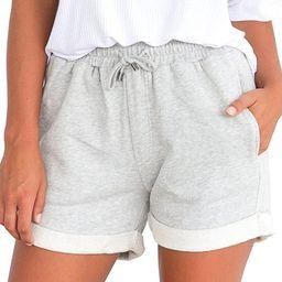Tengo Women Summer Beach Shorts Juniors Folded Hem Shorts with Drawstring | Amazon (US)