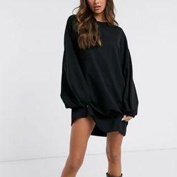 ASOS DESIGN oversized sweatshirt dress with jumbo sleeves in black   ASOS (Global)
