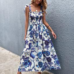 Allover Floral Shirred Knot Shoulder Dress | SHEIN