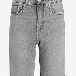 High Waisted Gray Raw Hem Bermuda Jean Shorts | Express