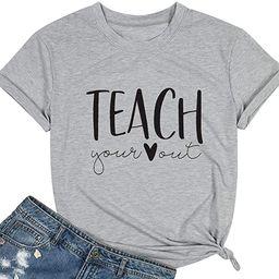 Teacher Shirts Women Cute Letter Print T-Shirts Teaching Tee Shirt Heart Graphic Tops Summer Casu...   Amazon (US)