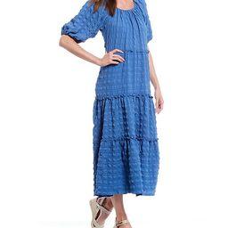Tiered Elastic Scoop Neck Elbow Sleeve Textured Crepe Dress | Dillards
