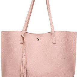 Women's Soft Faux Leather Tote Shoulder Bag from Dreubea, Big Capacity Tassel Handbag   Amazon (US)