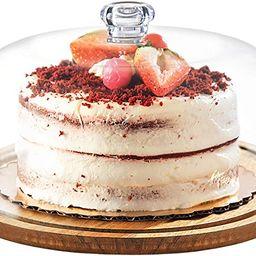 Godinger Cake Stand, Cake Platter Server with Dome, Acaciawood and Shaterproof Acrylic Lid   Amazon (US)