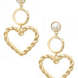 Imitation Pearl Heart Drop Earrings | Nordstrom