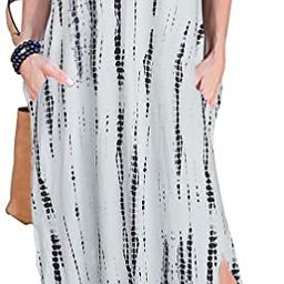 Women's Short Sleeve V Neck Pocket Casual Side Split Beach Long Maxi Dress   Amazon (US)