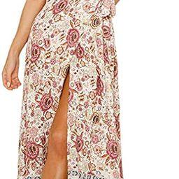 ZESICA Women's Bohemian Floral Printed Wrap V Neck Short Sleeve Split Beach Party Maxi Dress | Amazon (US)