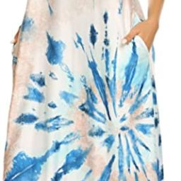 OURS Women's Summer Casual Floral Printed Bohemian Spaghetti Strap Floral Long Maxi Dress with Po... | Amazon (US)