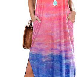 Women's Short Sleeve V Neck Dress Tie Dye Side Split Maxi Dresses with Pockets | Amazon (US)