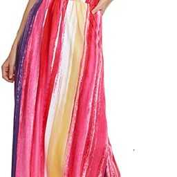 LIYOHON Women's Summer Maxi Dress Boho Loose Striped Floral Printed Casual Sleeveless Party Tank ... | Amazon (US)