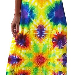 Women Long Dresses Casual Sleeveless V Neck Spaghetti Strap Summer Beach Boho Maxi Dress Yellow | Amazon (US)