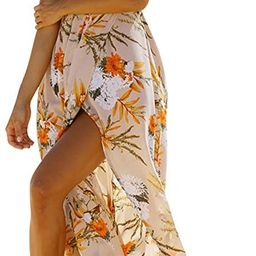 BerryGo Women's Sexy Deep V Neck Backless Floral Print Split Maxi Party Dress, vacation outfits | Amazon (US)