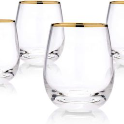 KJM and Co Gold Rimmed Crystal Stemless Wine Glasses - Perfect for Red or White Wine - Set of 4 -... | Amazon (US)