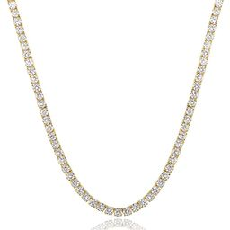 GMESME 18K Gold Plated 4.0mm Cubic Zirconia Classic Tennis Necklace 18 Inch | Amazon (US)