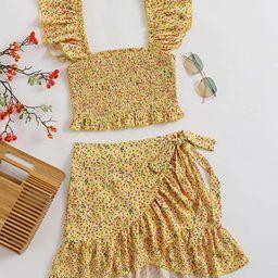 MakeMeChic Women's Two Piece Ruffle Trim Cami Crop Top and Wrap Skirt Set | Amazon (US)