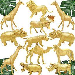 Metallic Gold Safari Animals Figurines Toys 12Pcs, Jungle Animal Figures, Wild Plastic Animals wi... | Amazon (US)