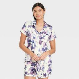 Women's 3pc Floral Print Satin Notch Collar Top Pajama Set - Stars Above™ Cream | Target