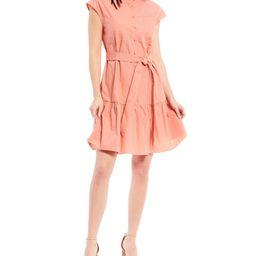 Belted Button Front Mandarin Collar Poplin Dress | Dillards