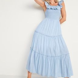 Ruffled Smocked-Bodice Striped Sleeveless Maxi Dress for Women   Old Navy (US)