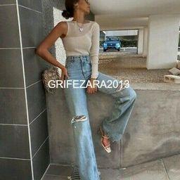 ZARA WIDE-LEG FULL-LENGTH RIPPED JEANS LIGHT BLUE ALL SIZES REF.6045/025 BLOGGER   eBay US