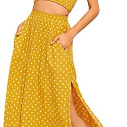 Floerns Women's 2 Piece Outfit Polka Dots Crop Top and Long Skirt Set with Pockets   Amazon (US)
