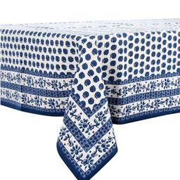 Blue Floral Block Print Tablecloth   Dillards
