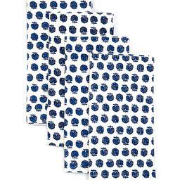 Blue Floral Block Print Napkins, Set of 4   Dillards