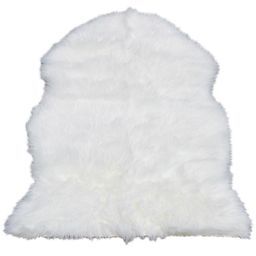 Walk on Me Faux Sheepskin Shag Rug White 2 ft. X 3 ft. Super Soft Faux Fur Rug   The Home Depot