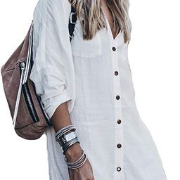 Bsubseach Women Loose Long Sleeve Swimsuit Cover Ups Button Down Beach Shirt | Amazon (US)