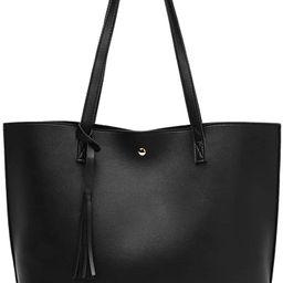Women's Soft Faux Leather Tote Shoulder Bag from Dreubea, Big Capacity Tassel Handbag | Amazon (US)