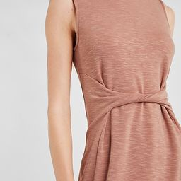 Soft Heathered Twist Front Sleeveless T-Shirt Dress   Express
