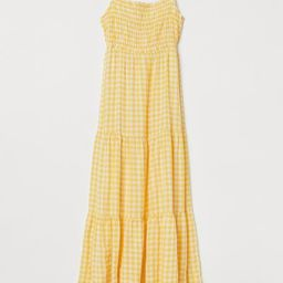 Ankle-length dress in airy, woven cotton fabric. Narrow, adjustable shoulder straps to tie at bac... | H&M (US)