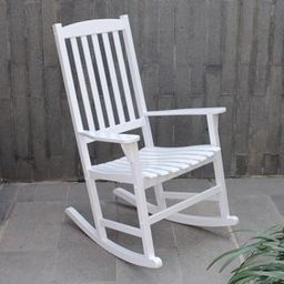 Mainstays Outdoor Wood Porch Rocking Chair, White Color, Weather Resistant Finish - Walmart.com | Walmart (US)