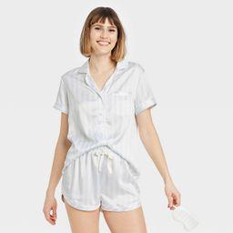 Women's 3pc Striped Satin Notch Collar Top Pajama Set - Stars Above™ Blue | Target