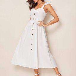 SHEIN Button Front Ruffle Trim Slip Flare Dress   SHEIN