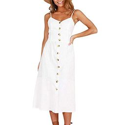 Women's Floral Sundress Spaghetti Strap Button Down Swing Midi Dress With Pockets   Walmart (US)