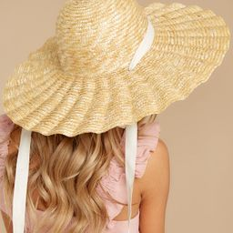 Scalloped Dolce Natural Hat | Red Dress