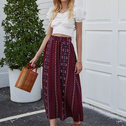 Tribal Embroidery High Waist A-line Skirt | SHEIN